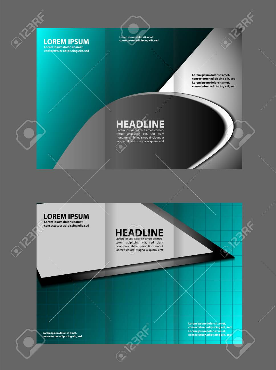 dark and blue style tri fold brochure design corporate leaflet