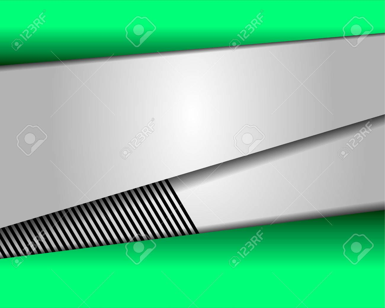 Green vector background curve silver grey line on dark space