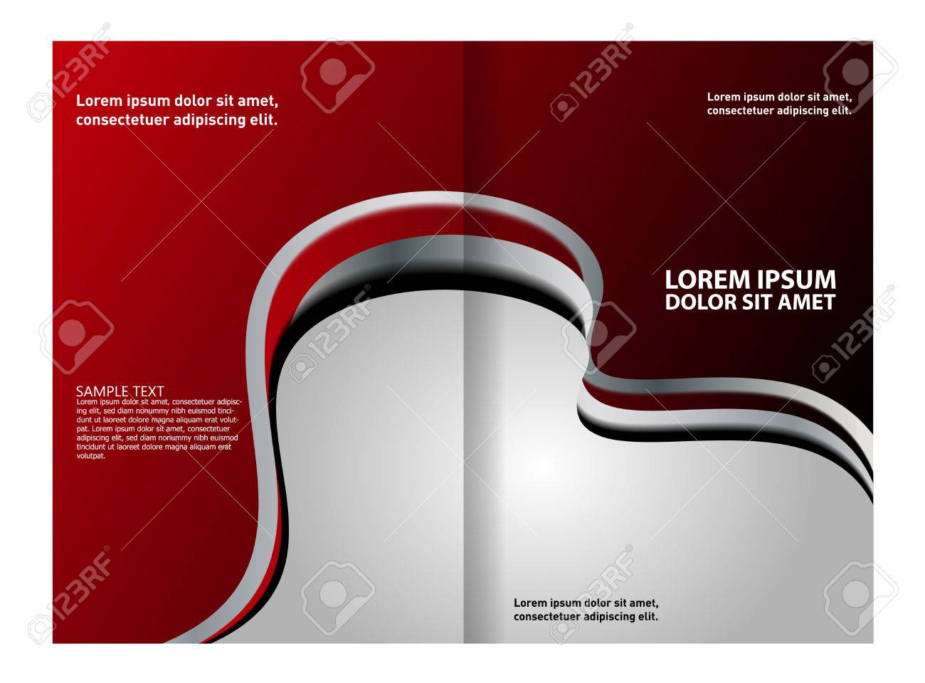 bi fold brochure template design with red color royalty free