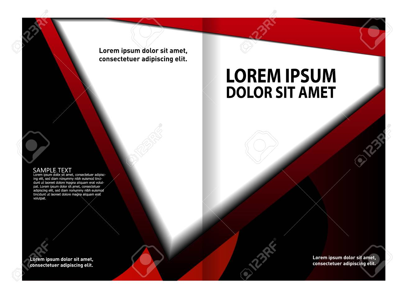 bi fold brochure template design business leaflet booklet royalty