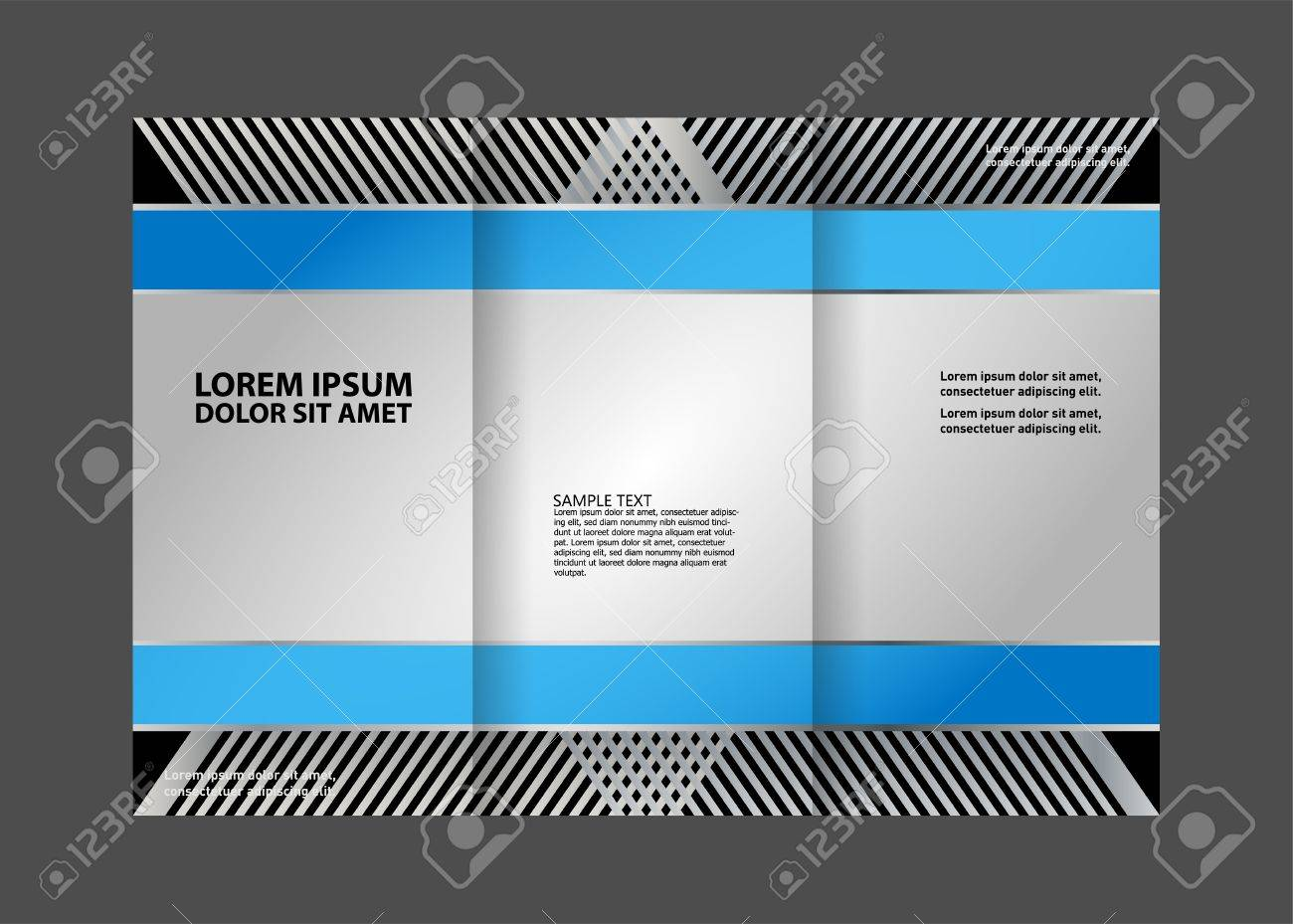Tri Fold Brochure Empty Vector Print Design Template, Tri Fold Booklet Or  Flyer