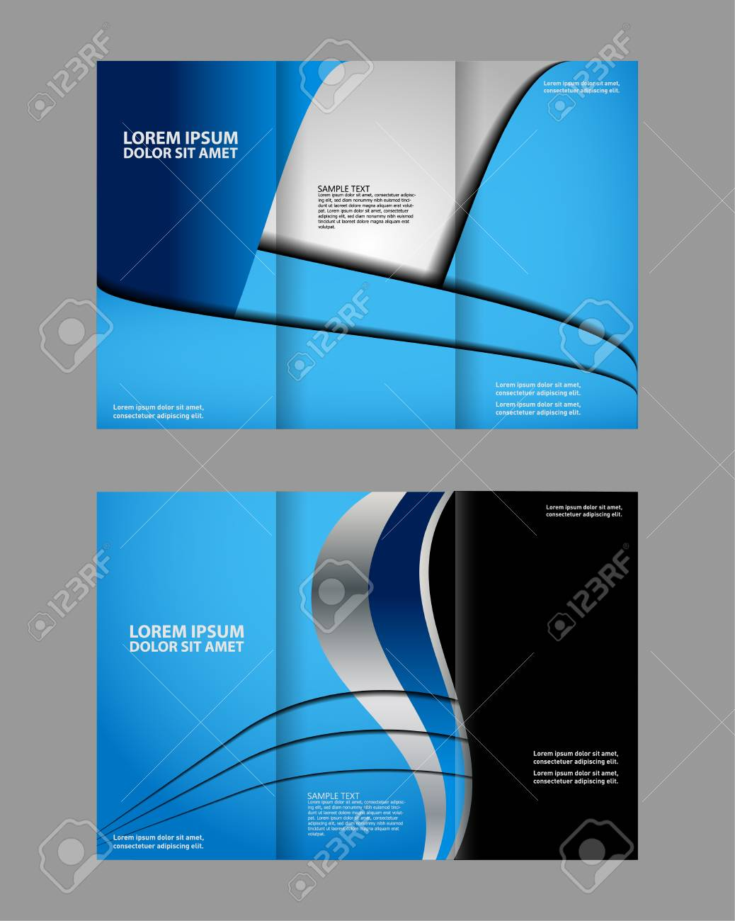 Tri Fold Brochure Empty Vector Print Design Template, Tri Fold Booklet Or  Flyer