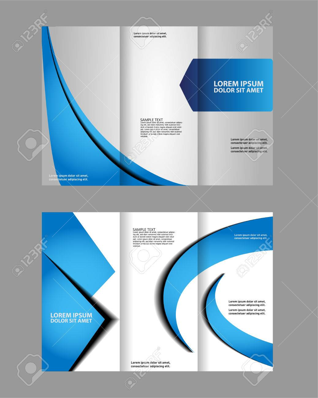 Tri-fold Brochure Empty Vector Template Design Print, Booklet ...