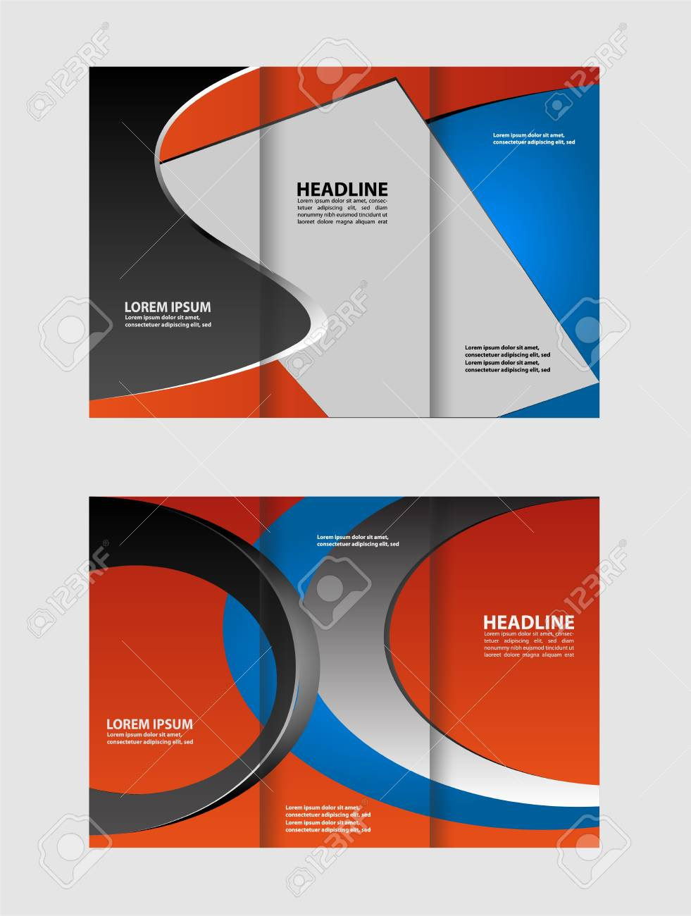 Trifold Brochure Template Design Of Red With Stripes And Circles - Editable brochure templates