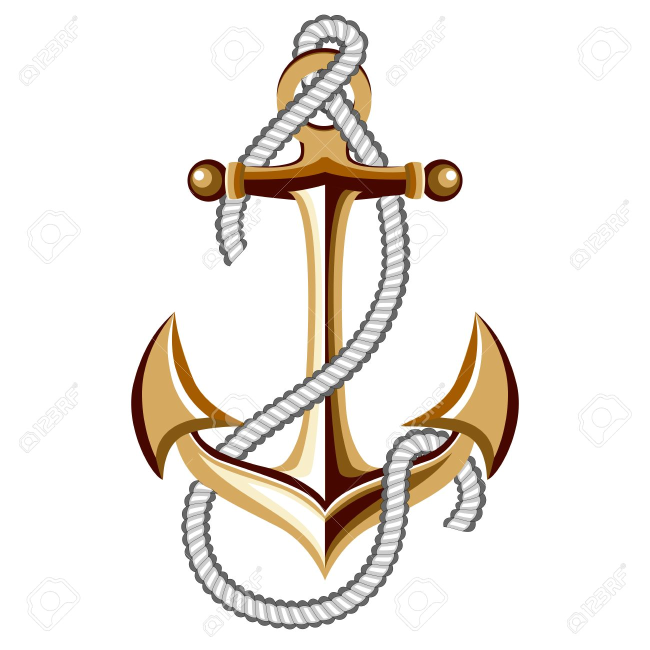 Gold Anchor With Rope Stock Vector