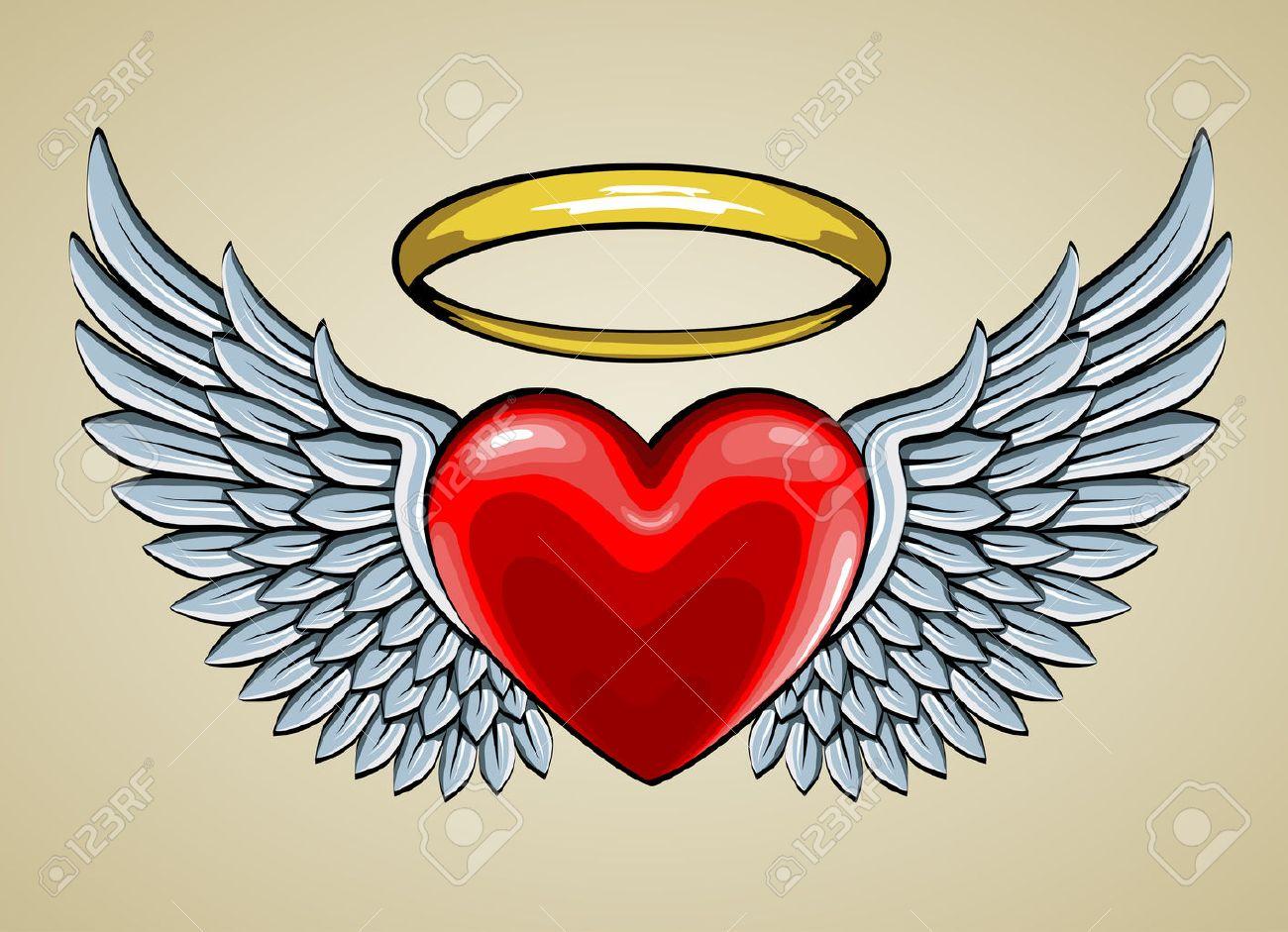 Corazón Rojo Con Alas De ángel Y Aureola Ilustraciones Vectoriales