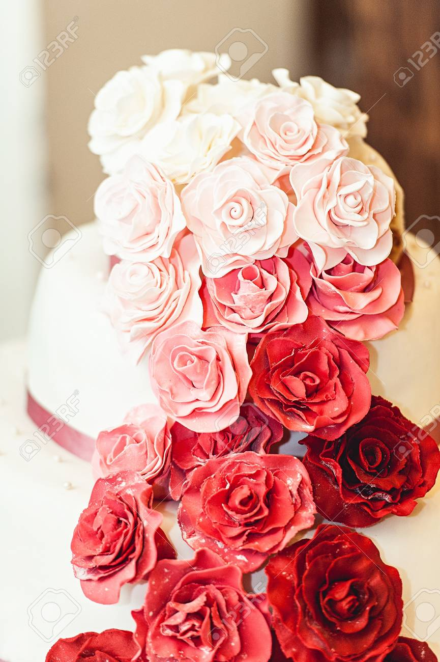 White Red Pink Wedding Cake With Roses Stock Photo Picture And