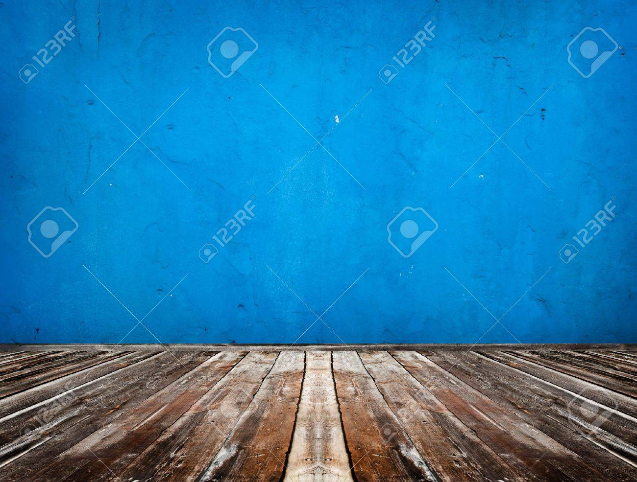 blue empty room with wooden floor Stock Photo - 9544709