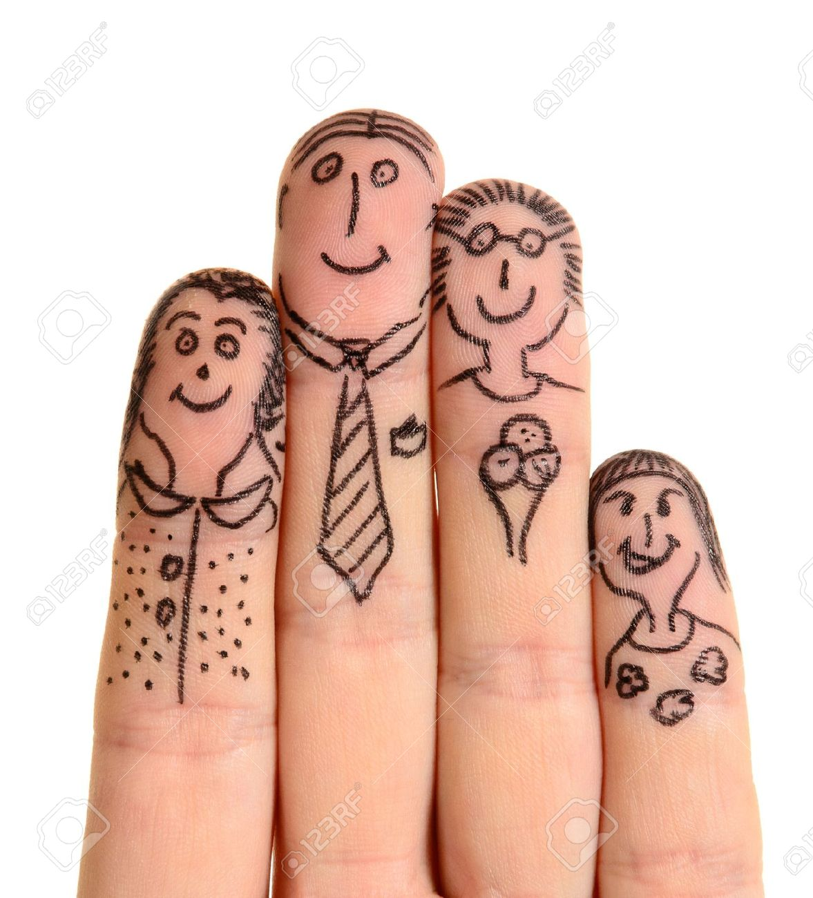 fingers family isolated on white background stock photo picture and