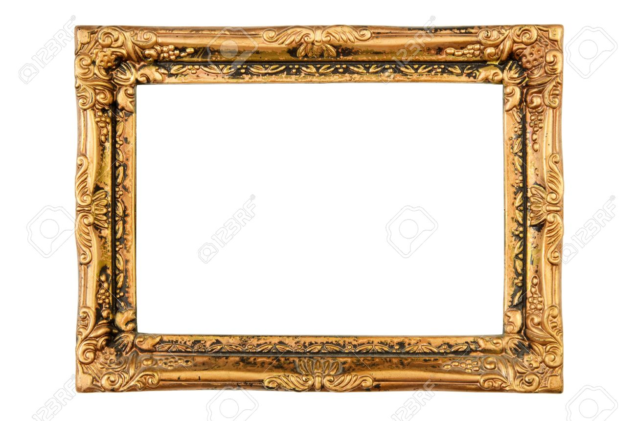 Old Antique Gold Frame Isolated On White Background. High Resolution ...