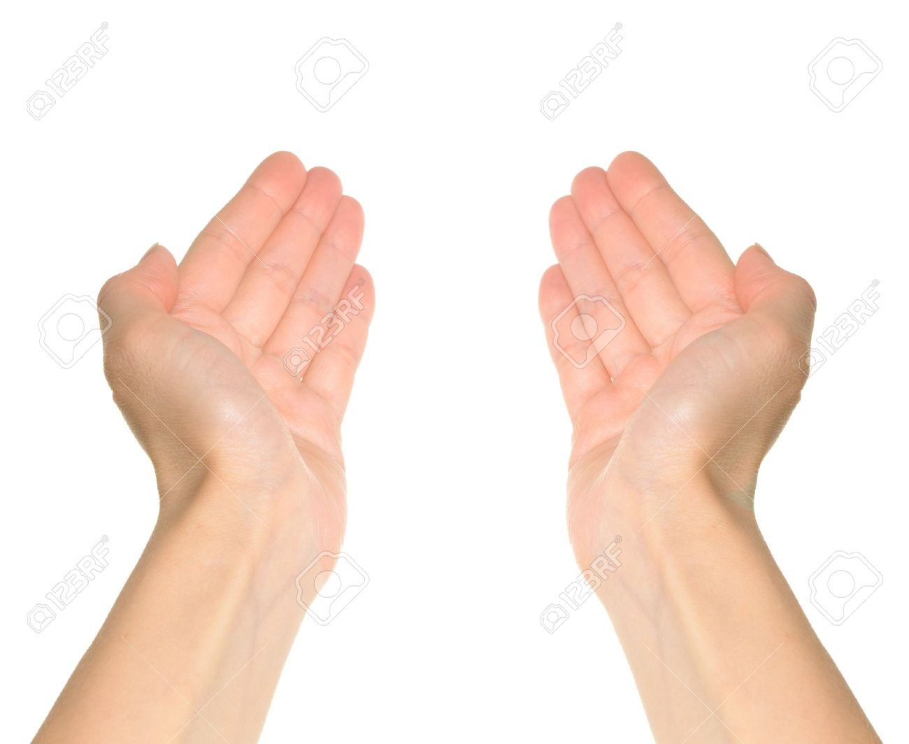 Two hands reaching and holding a concept isolated on white background First person point of view - 13023717
