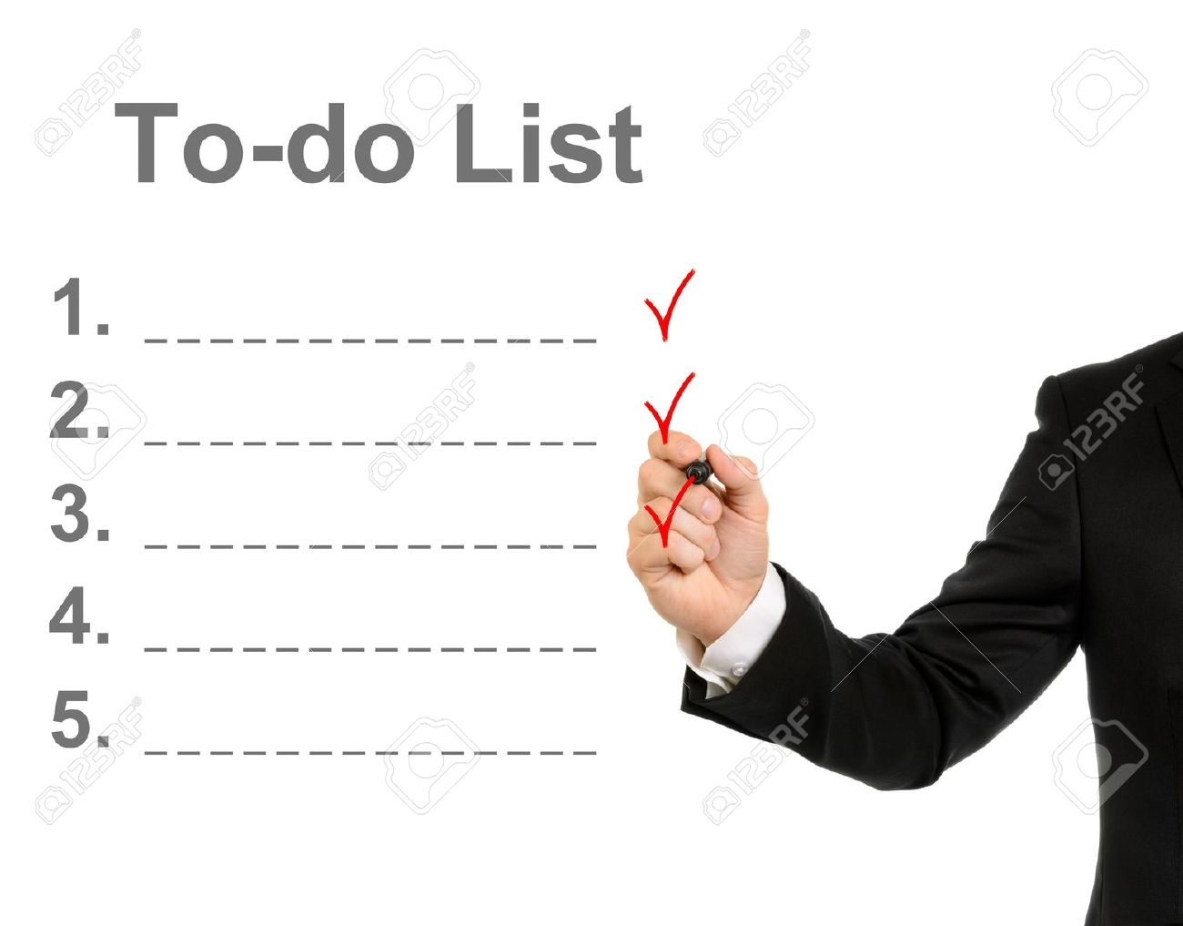 Businessman hand drawing a to do list isolated on white background - 13023709