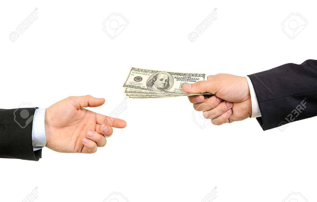 Hand handing over money to another hand isolated on white background - 13944942