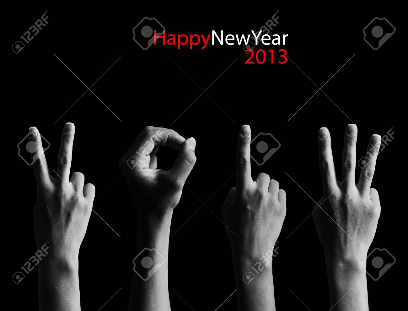 The number 2012 shown by fingers in creative New Year greeting card Stock Photo - 15826007