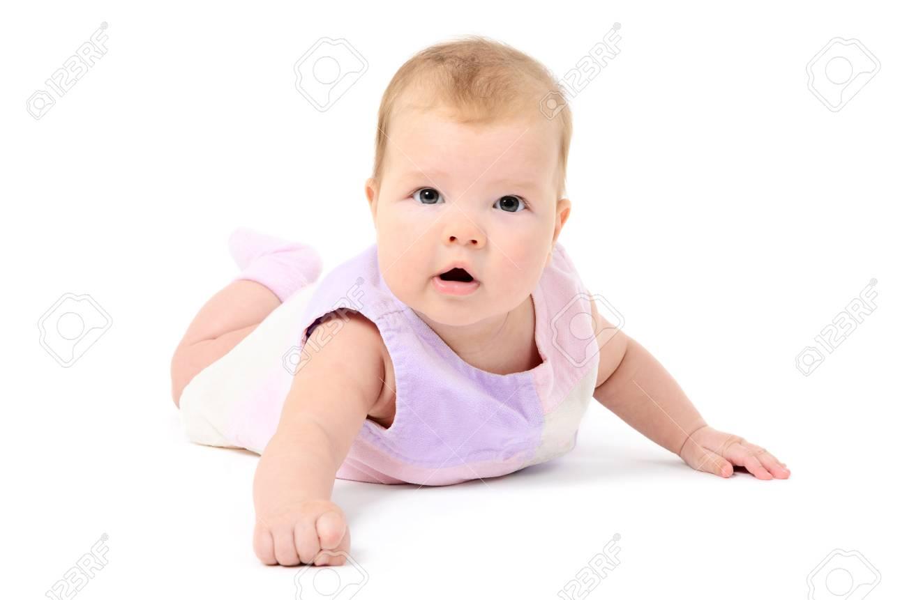 Beutiful infant baby girl on white background Stock Photo - 16826602