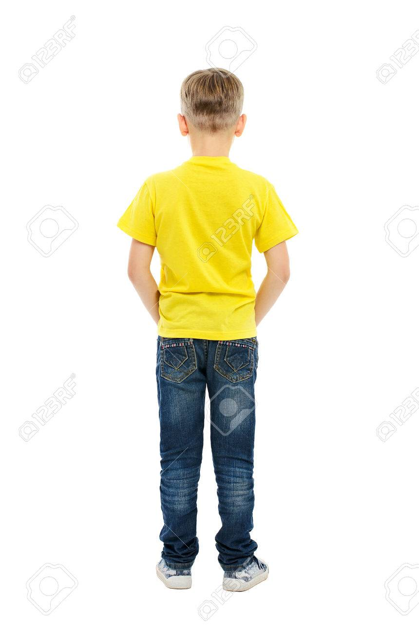 Rear view of boy isolated on white background - 23339485
