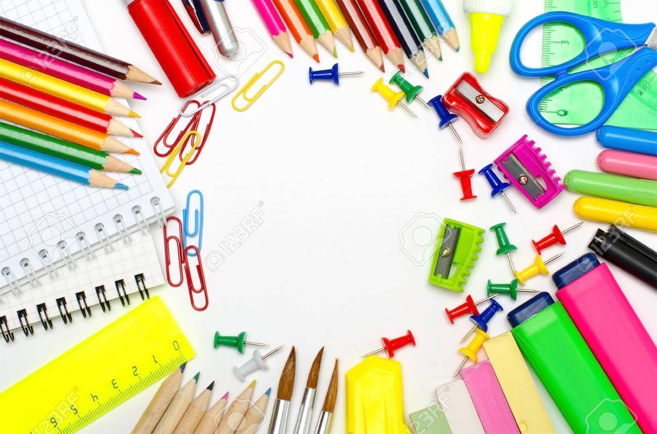 Escuela De Encuadre De Papelería Para La Escuela Y La Oficina Fotos ...