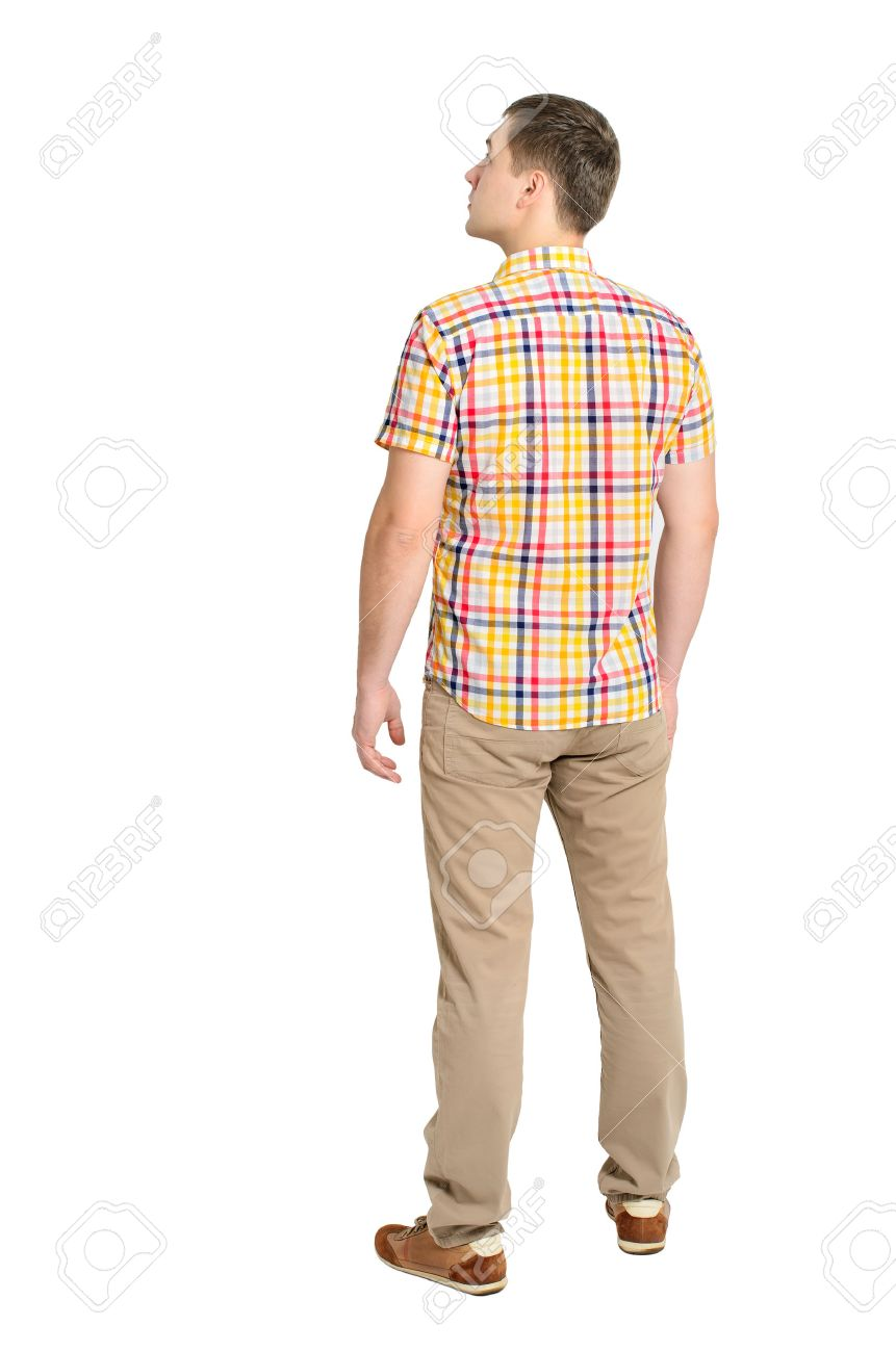 Back view of young man in a plaid shirt and jeans looking Standing young guy Rear view people collection backside view of person Isolated over white background - 29117600