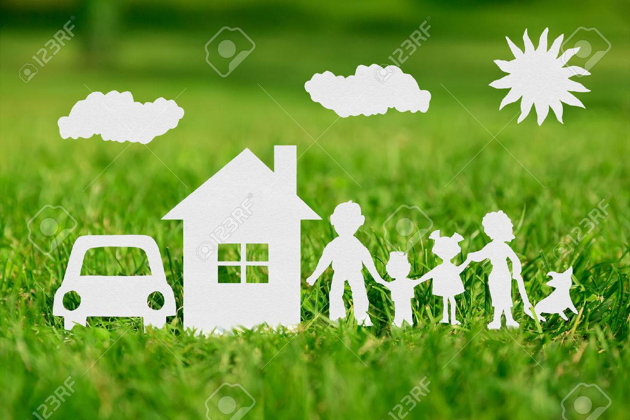 Paper cut of family with house and car on green grass - 38973594