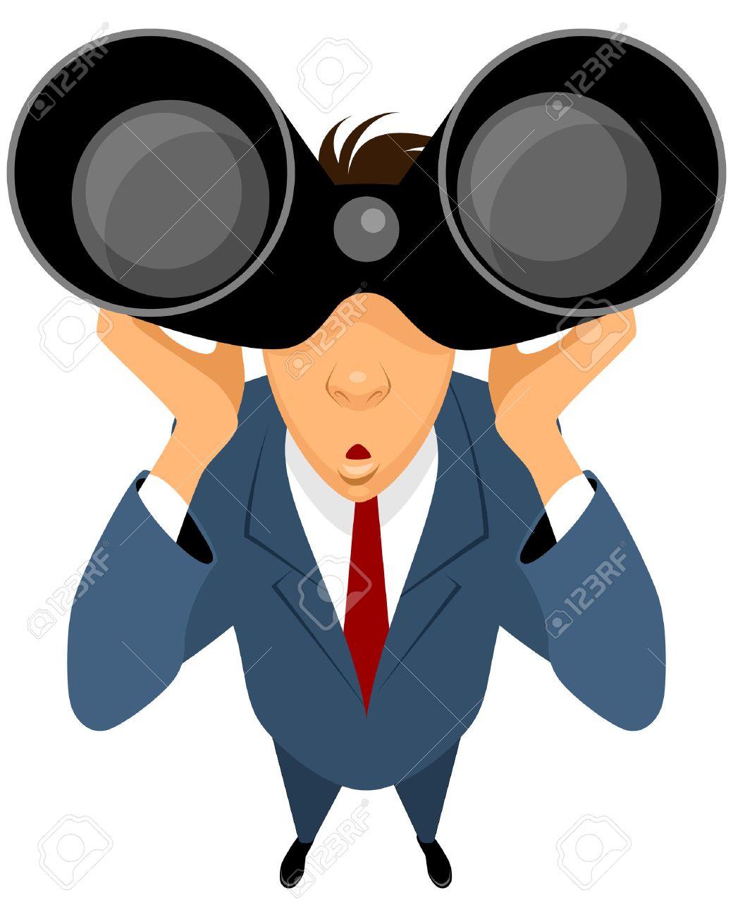 双眼鏡でみるビジネスマンのベクトル イラスト ロイヤリティフリー