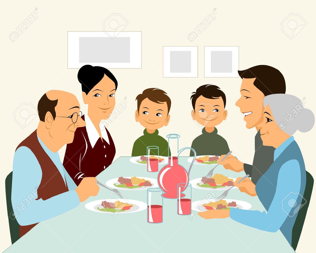 大きな家族の食事のイラストのイラスト素材ベクタ Image 54227814