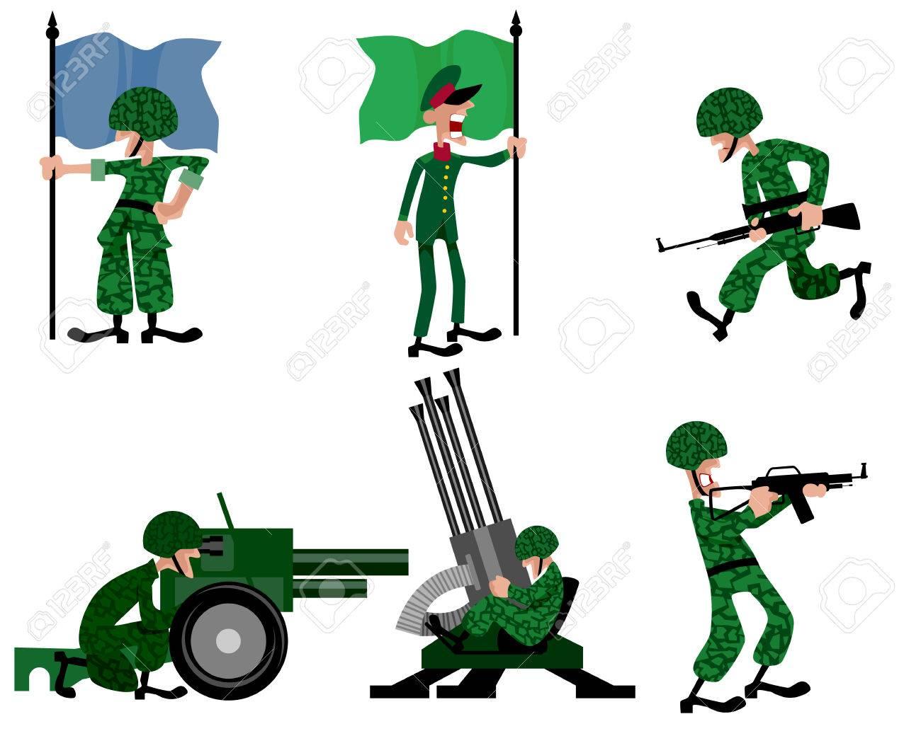 6 人の兵士セットのベクトル イラストのイラスト素材ベクタ Image