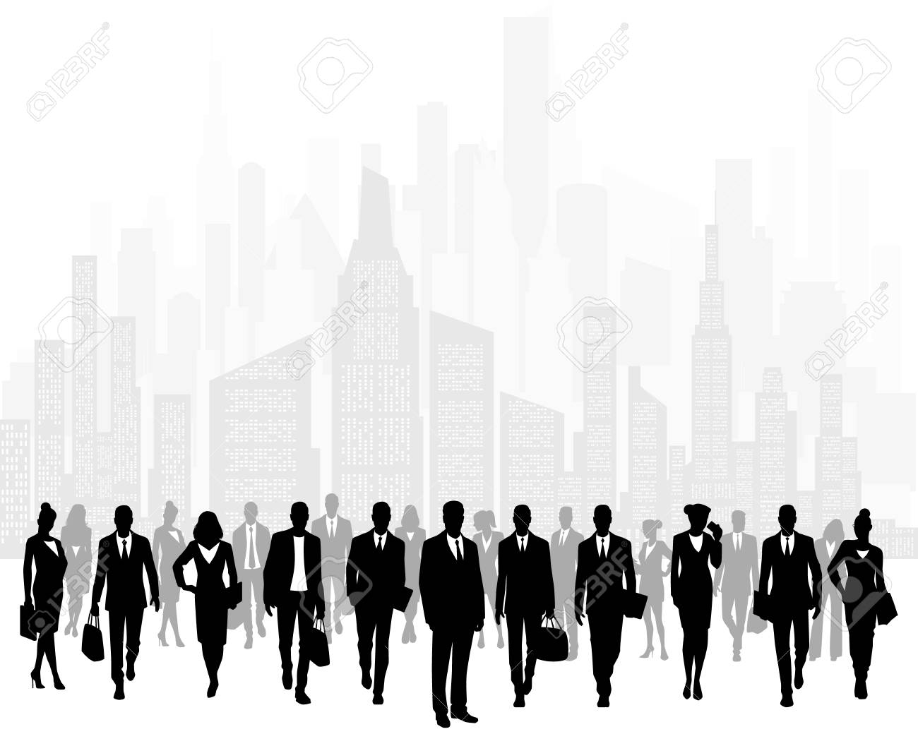 Vector illustration of group of businessmen on background of city - 126746727