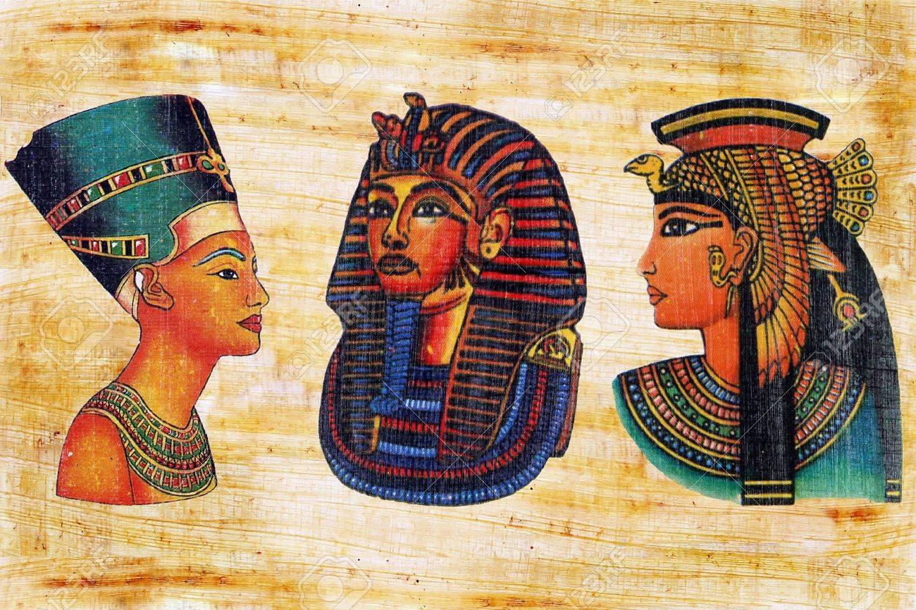 Nofretete, Maske Des Tutanchamun Und Die Königin Kleopatra Auf Einem ...