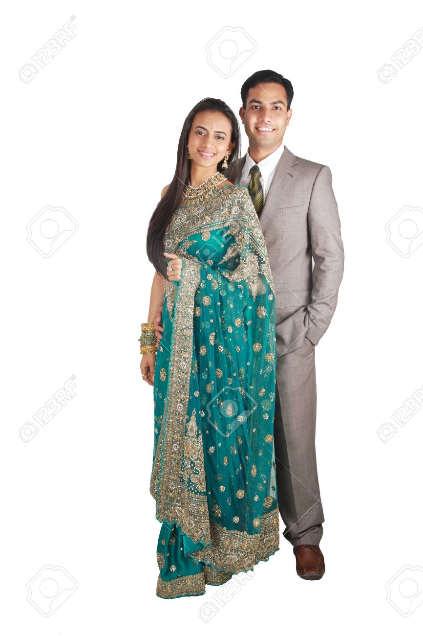 Indian Couple In Traditional Wear. Isolated On White Background ...