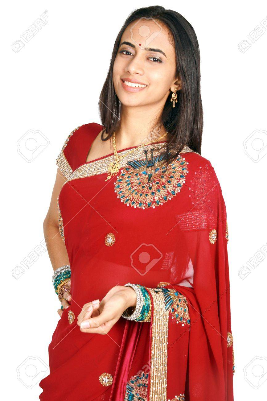 Stock Photo Young Indian Girl In Traditional Clothing Isolated On A White Background
