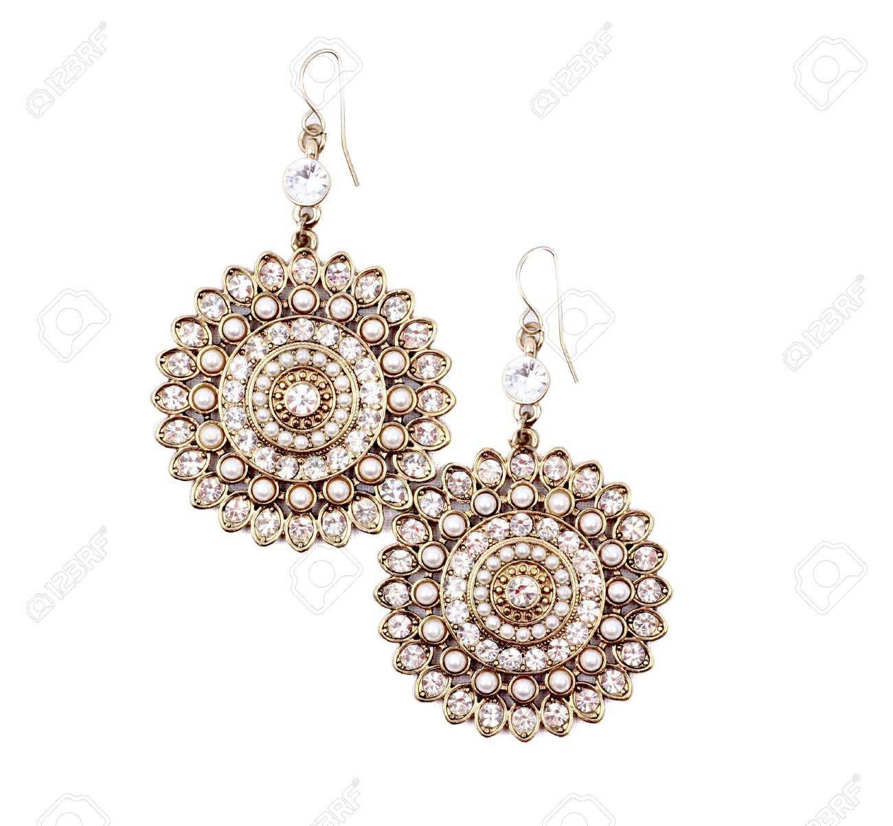 Pair of earrings isolated on the white background. Stock Photo - 10222632