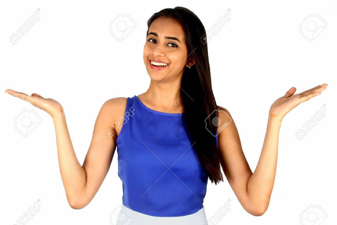 Young business woman over white background presenting Stock Photo - 13010014
