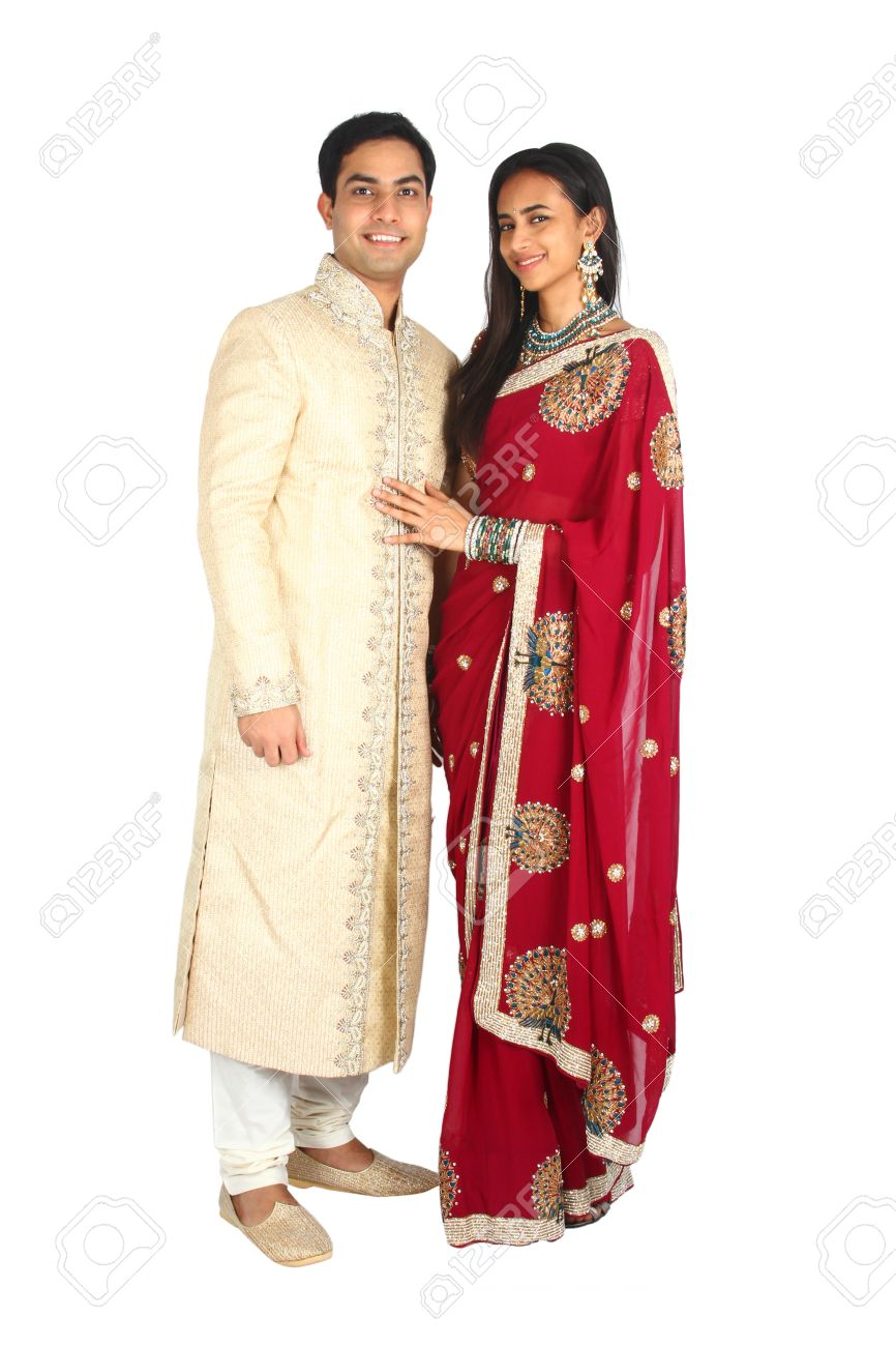 Indian couple in traditional wear  Isolated on a white background Stock Photo - 14530759