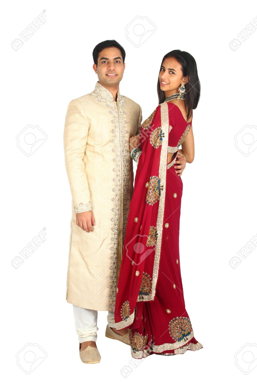 Indian couple in traditional wear  Isolated on a white background Stock Photo - 14722695