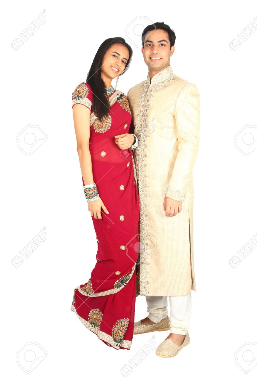 Indian couple in traditional wear  Isolated on a white background Stock Photo - 14722692