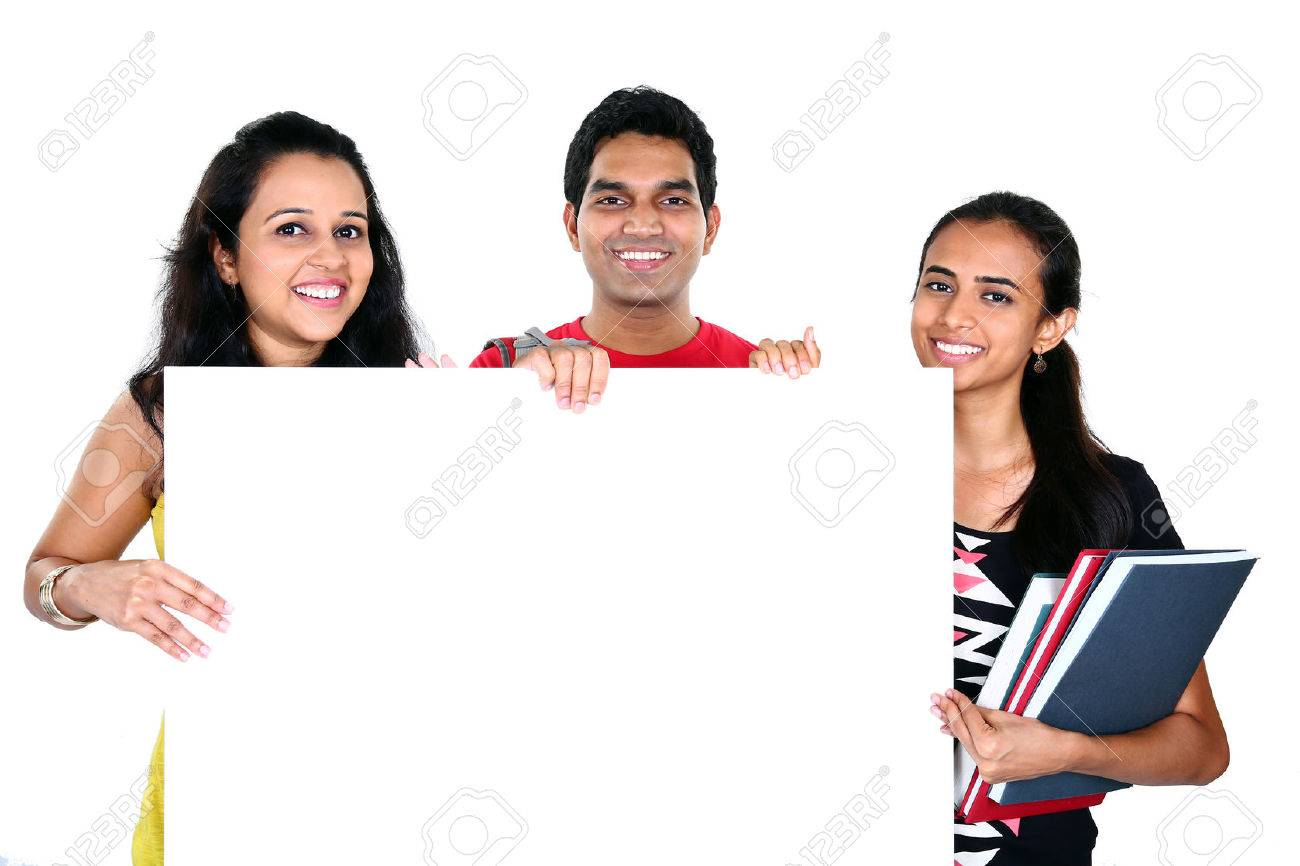 Group of Indian friends displaying white placard for your text isolated on white background Stock Photo - 31058810