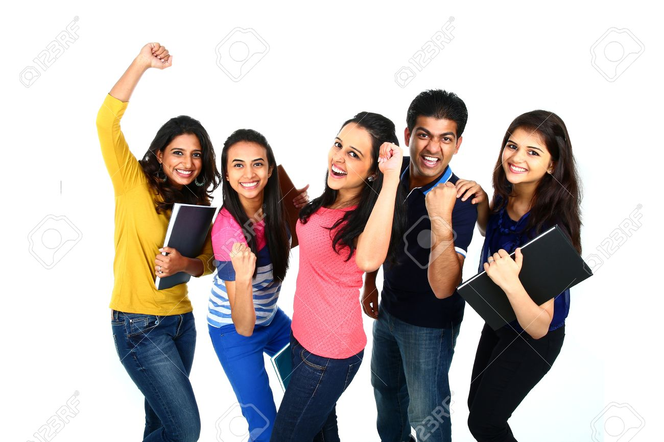 Happy smiling portrait of Young Indian/Asian group of people looking at camera, smiling and celebrating. Isolated on white background. Stock Photo - 31468714