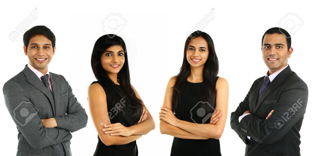 Asian Indian businessmen and businesswoman in group isolated on white. Teamwork concept. Stock Photo - 37752326