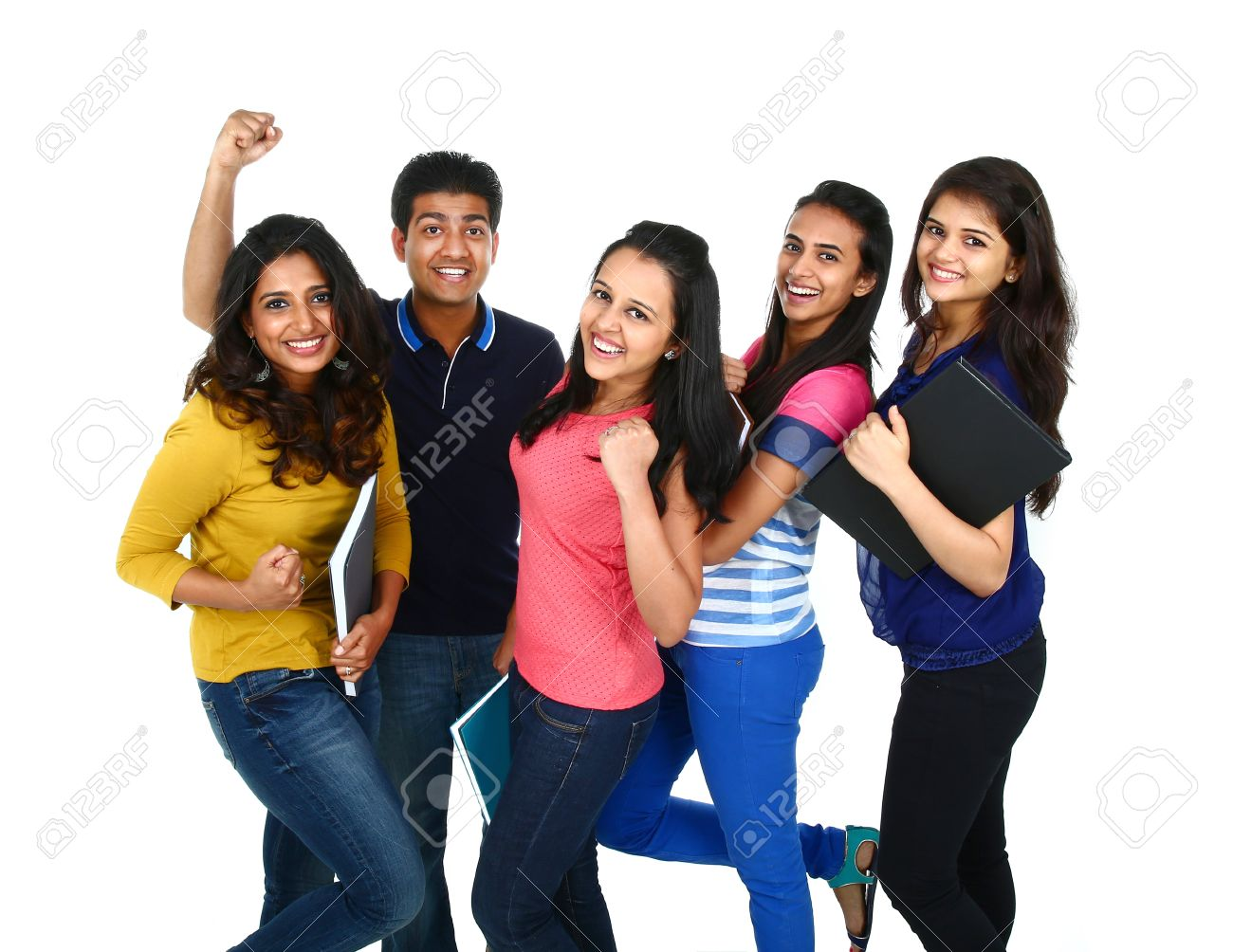 Happy smiling portrait of Young Indian/Asian group of people looking at camera, smiling and celebrating. Isolated on white background. Stock Photo - 38119348