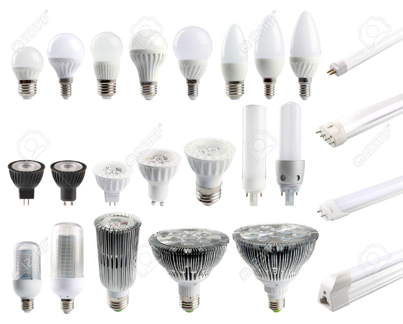 A large set of LED bulbs isolated on white background. Stock Photo - 43249795