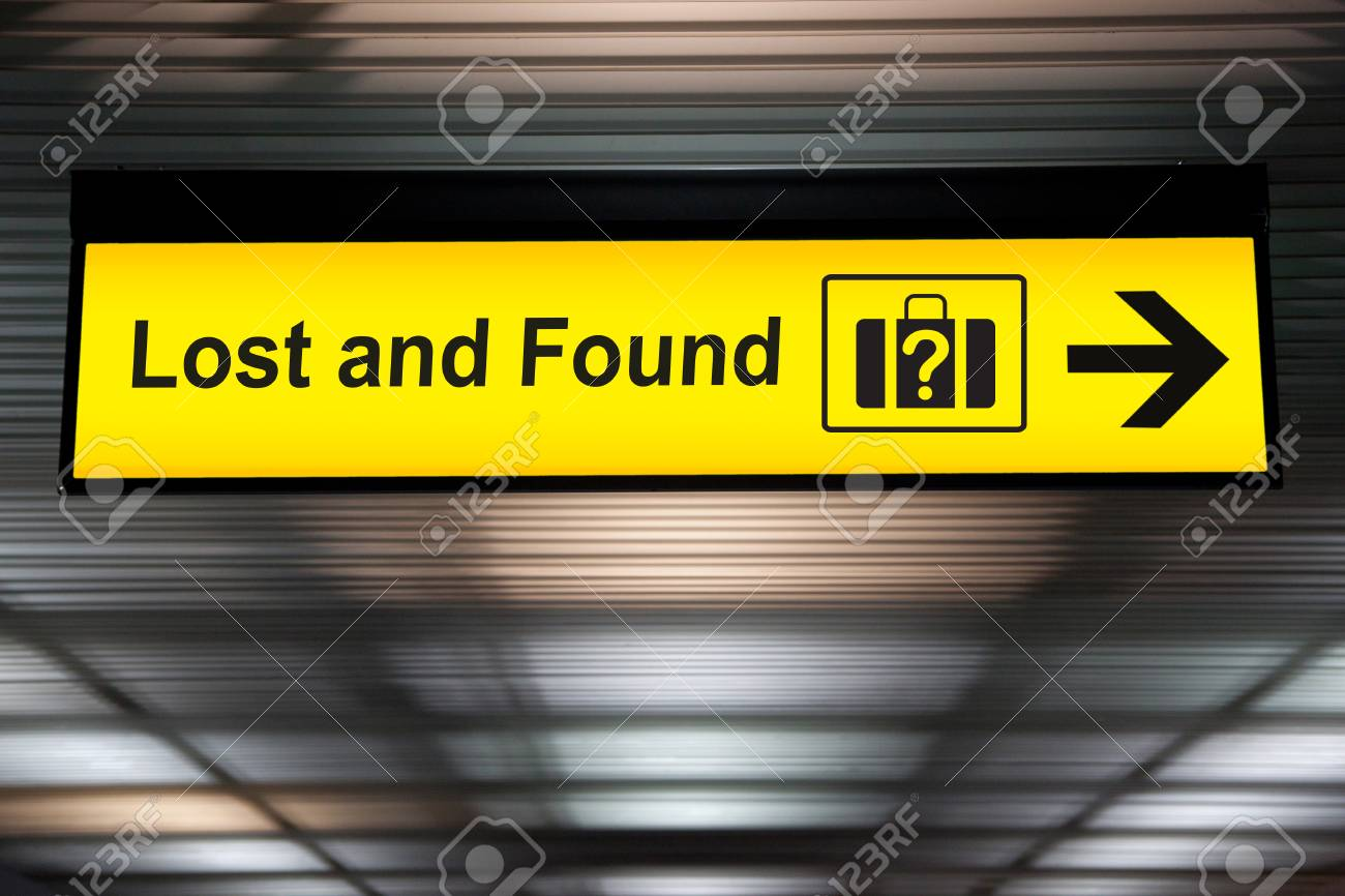lost and found sign at the airport stock photo picture and royalty