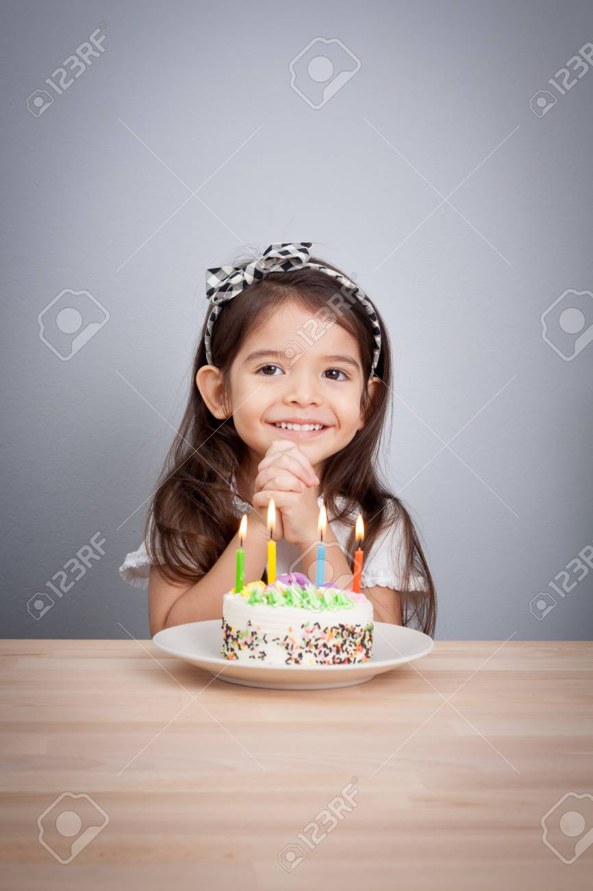 Cute Girl Make A Wish On Birthday Happy Birthday Background