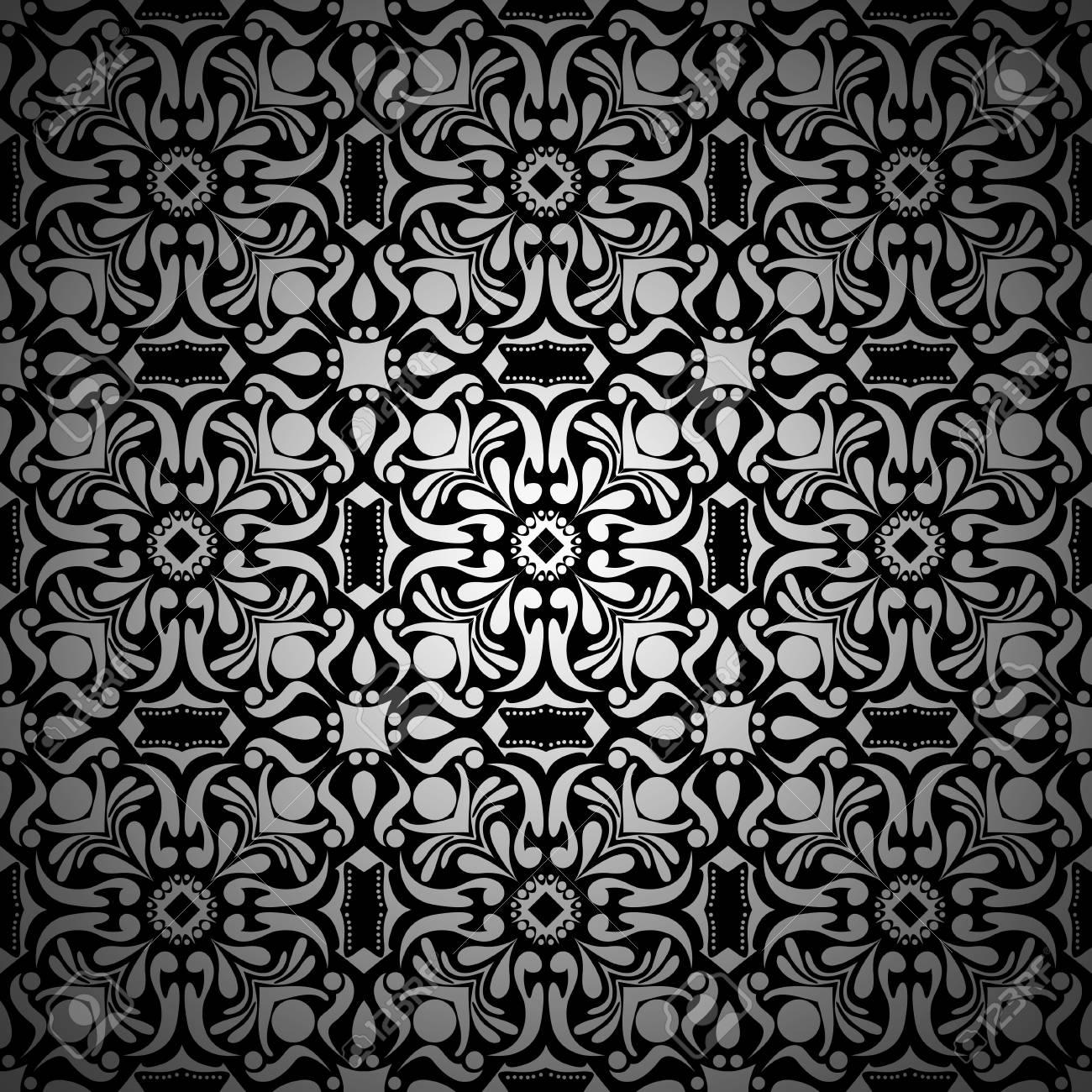 Papier Peint Motif De Fond Floral Vintage Noir Et Blanc Avec Degrade