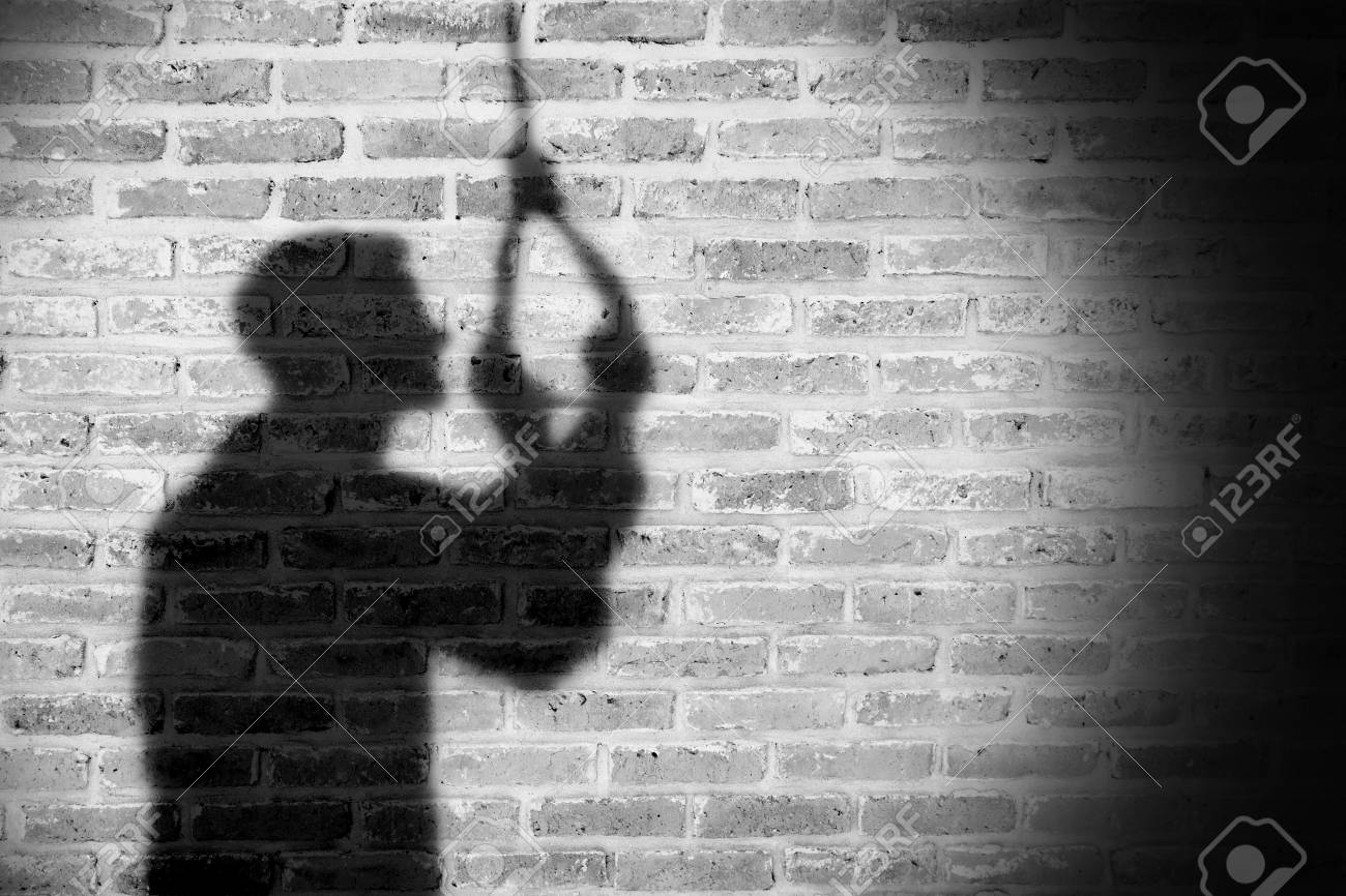 Shadow of sad man hanging suicide light and shadow stock photo 88436412