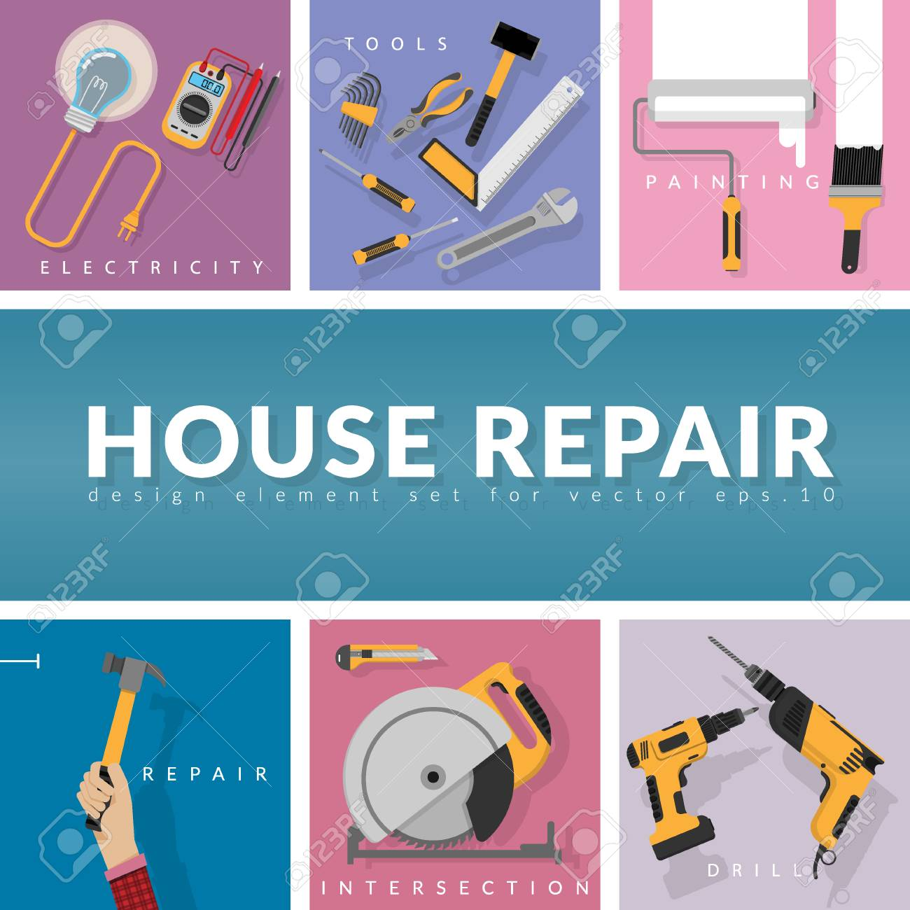 Set Of Home Repair Working Tools Vector Logo Design Template