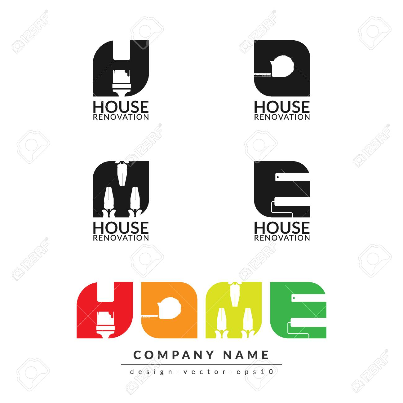 Creative Home Renovation Concept Logo Design Template Isolated