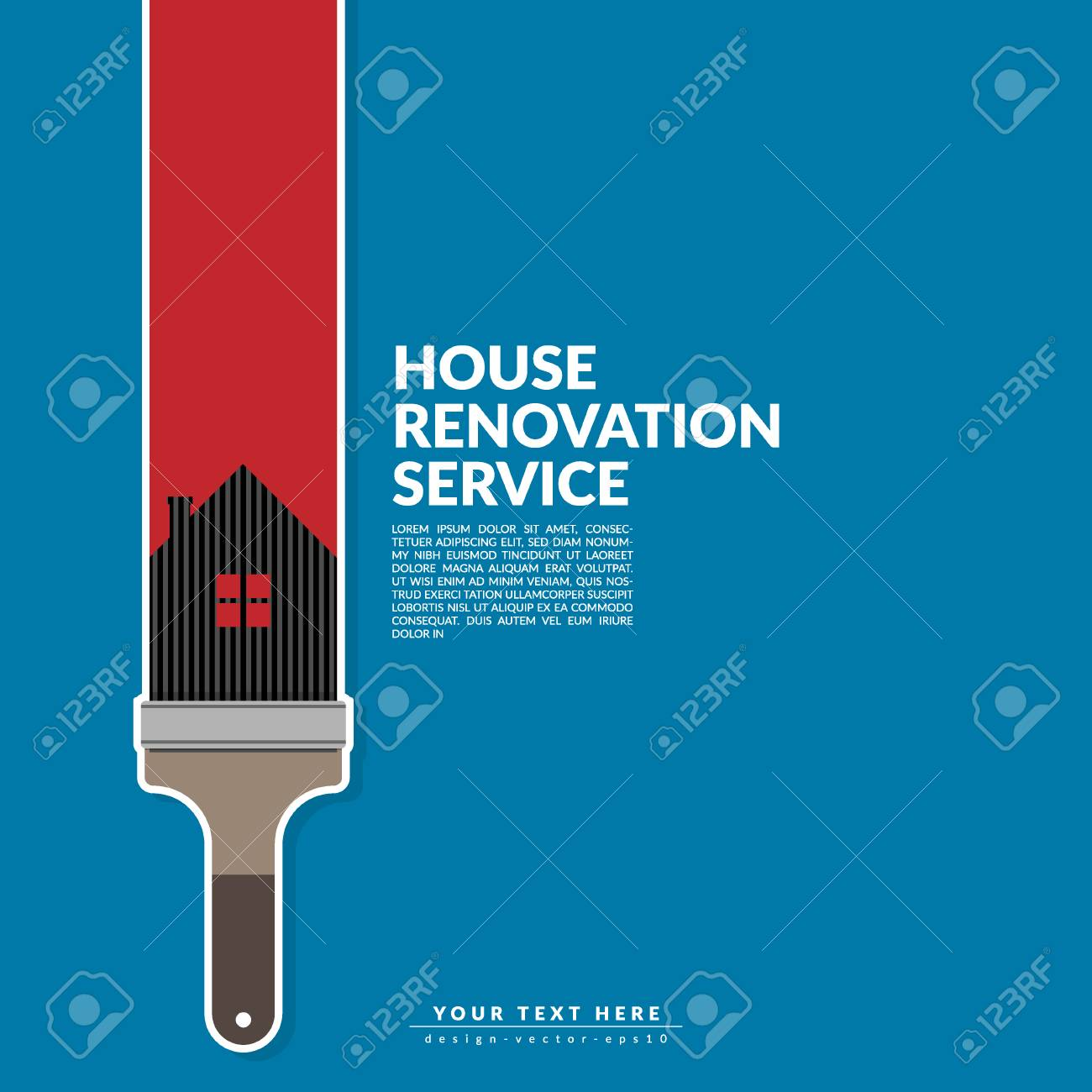 Paint Roller Paint Red Color Over House Logo Isolated On Blue