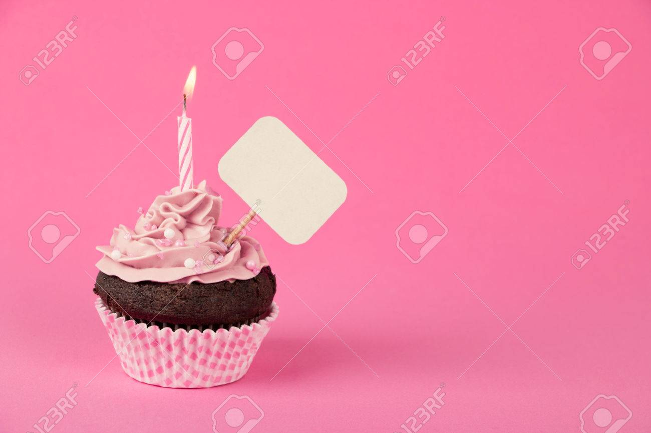 Pink birthday cupcake with a candle and blank placard - 35615018