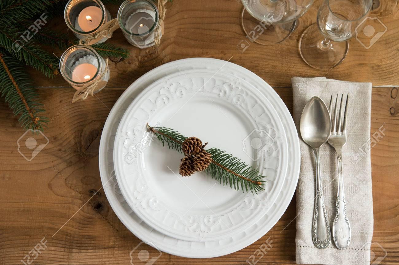 Rustikal Und Natürlich Weihnachten Tabelle. Draufsicht. Lizenzfreie ...