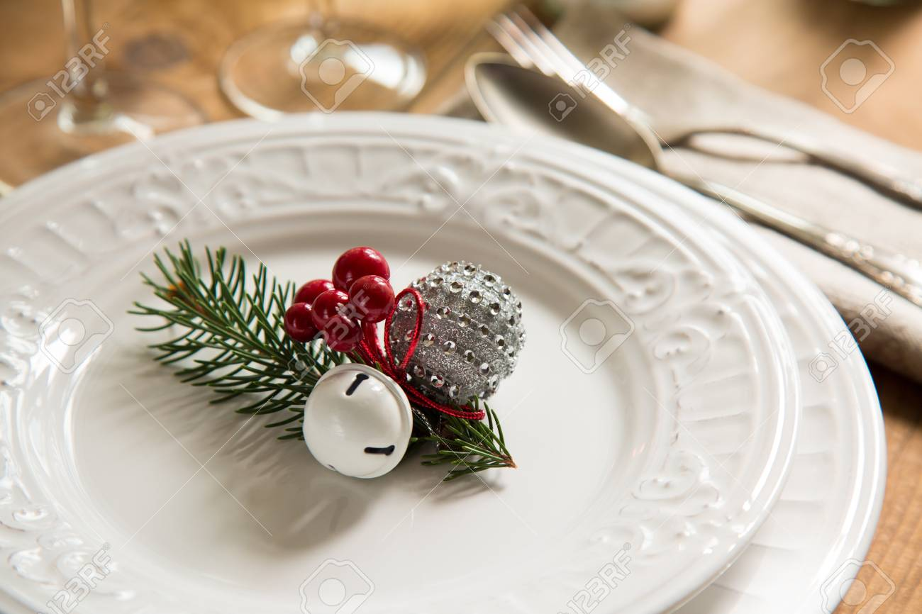 Special Christmas Ornaments.Christmas Ornaments On Dish For A Special Table Setting